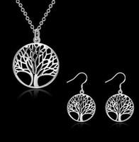 Neue runde hohle Wunschbaum-Anhängerhalskette Baum des Lebens 925 silberne Halskette geben Ohrring frei