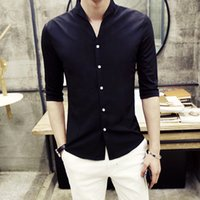 Groothandel- Neuheiten 2016 Zomerjurk Herenhemden Wit Huwelijk Heren Kledij Camisa Social Mens Stand Kraag Shirts Office Shirts Slanke Fit