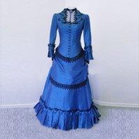 2021 Vintage Gothic Blue Periode Geburtstagsfeier Trubel Kleider mittelalterliche Renaissance Victorian Ball-Kleidertheater Kleidung für Frauen