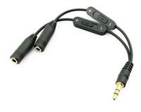 تعزيز 3.5mm ذكر إلى 2 أنثى ستيريو الصوت Y الفاصل محول الصوت كابل ث / التحكم في الصوت تمديد الصوت الحبال