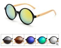 2021 nuovi prodotti di moda uomini donne occhiali da sole occhiali da sole bambù occhiali da sole retrò vintage lente legno vintage telaio in legno a mano rotondo 1527