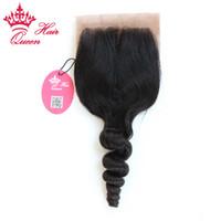 Onda frouxa brasileira do cabelo humano do Virgin do fechamento 100% de seda da onda do cabelo da rainha ondulada