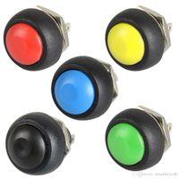 5x zwart / rood / groen / geel / blauw 12 mm waterdichte tijdelijke drukknopschakelaar B00019 rechtvaardig