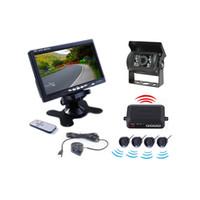 Auto Truck Wireless Rückfahrkamera 4 Sensoren Einparkhilfe PZ608W 7 Zoll 16: 9 Digital Panel Kamera Pixal 648 * 488 Kostenloser Post