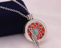 feather turquoise Censer Aromatherapy Locket Essential Oil D...
