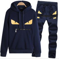 Impreso Hoody Hombres Chándal Little Monster Pattern Male Suit Hoodies Sweatshirt + Pant Homme Sweatsuit 3XL 2017 Dos piezas Sets Sportswear