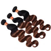 Nuevo estilo brasileño Ombre Body Wave Paquetes de cabello humano de color 1B / 30 Brasileño Ombre Auburn Brown Virgin Hair Weave Extensions