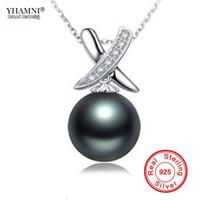 YHAMNI Real Original 925 Collana in argento sterling Collana di perle naturali di perle d'acqua dolce nere per le donne NG07