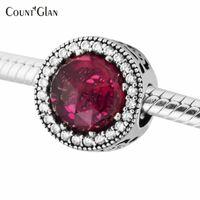2017 Spring Belle's Radiant Rose Flowel Charms Bead 925 Sterling Silver Cerise Branelli di cristallo misura i braccialetti di fascino di Pandora Fai da te