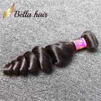 Bellahair®9aブラジル髪の緯糸1本/ロット人間の自然な黒い色の緩い波1束小売