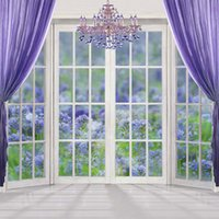 Purple Curtain Crystal Chandelier Window Photography Backdro...