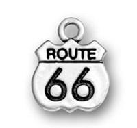100pcs / lot Antique Route plaquée argent 66 Intersection DIY Panneau de signalisation Message Charmes Pour Cadeaux Ou Anniversaire