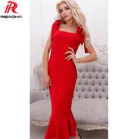 Reaqka casual 2017 donne eleganti lungo tromba sirena vestito sexy senza maniche rosso partito di sera abiti estivi vestidos all'ingrosso q1113