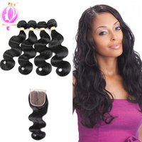 Human Hair Extensions Brazilian Body Wave 4 Bundles with Lac...