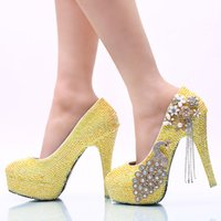 Lemon Yellow Rhinestone Wedding Party Shoes Handmade Bridal ...