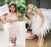 2017 lindas borlas de tul vestidos de niña de flores para la boda correas escote cuadrado niñas desfile vestido de té niños vestidos de fiesta
