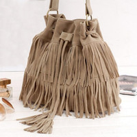 New Fashion 2017 Suede Drawstring Bucket Bag Women Handbag F...