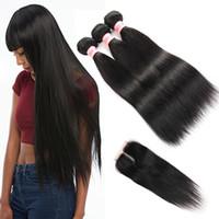 10a cabelo brasileiro 4 pacotes com fechamento extensões de cabelo retas virgens brasileiras pacote de cabelo humano com fecho de renda