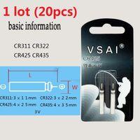 20pcs 1 lot CR311 CR322 CR425 CR435 3V PIN Type lithium li ion Battery 3 Volt li-ion batteries Bait Fishing Pipe Card VSAI Free Shipping