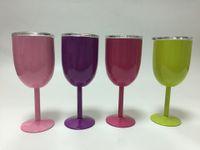 Calice da 10 once in acciaio inox Calice da vino rosso 9 colori a doppia parete Calice da esterno in metallo con coperchio Bicchiere da vino rosso
