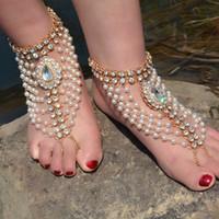 1 Stück neue Boho Vintage Fußkettchen für Frauen Imitation Perle Quasten Fuß Barfuß Sandale Kristall Multilayer Fußkettchen Strand Hochzeit