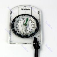 Atacado-15pcs / lot Mini Tudo em 1 Outdoor Caminhadas Camping Baseplate Compass MM INCH Meça grande ferramenta Régua para ourdoor