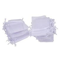 100pcs / lot 7x9cm 9x12cm белые мешки шнурка мешка подарка мешка ювелирных изделий Organza для венчания благосклонности, шарики, ювелирные изделия