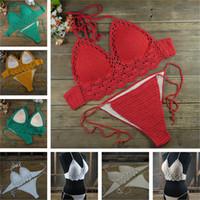 Mulheres Sexy Crochet À Mão Swimsuit Crochet Bikini Oco Crochet Swimwear cores personalizadas frete grátis SY6515
