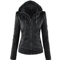 832b645ab6b Women Jackets Female Faux Leather Jacket Long Sleeve Hat Removable Basic  Coats Waterproof Windproof Winter Women s Clothing