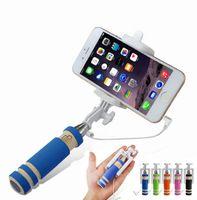 Mini plegable autoadhesivos Monopod Wired selfie palillo de cable extensible obturador incorporado palillo de iPhone Para X 8 7 6 Samsung Huawei Xiaomi Sticks