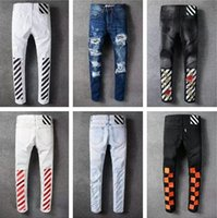 OFF WHITE NEW JEANS Men Winter Fall Pant Hip-Hop Jean Calças Stripes Rose Embroidery Algodão Denim Trousers Designer Destroyed Jeans BBG0701