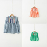 Lovely Kids Girls Ruffle Tops bordados Camisetas Camisetas de manga larga 1-6Y