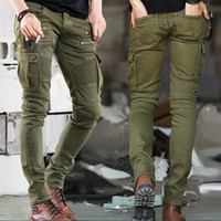 Wholesale-Port&Lotus Jeans Men Casual Fashion Men Jeans Solid Color Biker Jeans Army Style Slim 004 Skinny Men Brand Clothing
