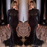 Neue Michael Costello Langärmeln Prom Kleider 2021 Bling Bling Black Pailletten High Hals Mermaid Sexy Promi Kleider Pageant Abendkleider