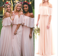 2017 Blush Pink Chiffon Off the Shoulder Abiti da sposa Summer Beach Boho senza spalline Piano Lunghezza Uva Maid Of Honor Abiti da sposa