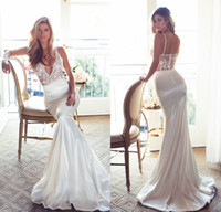 2017 Lurelly Bridal Wedding Dresses Sexy Sheer Mermaid Spagh...