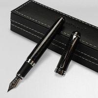 الفاخرة جينهاو X750 نافورة القلم الأسود المتلألئة الرمال متوسطة المنقار تسجيل الأقلام الكتابة اللوازم حزب هولداي هدية