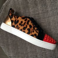 New 2017 mens womens leopard real horsehair leather with red...