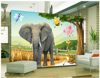 높은 품질 사용자 정의 3d 사진 벽지 벽화 벽 종이 고화질 3D 동물 세계 어린이 TV 배경 벽 장식 룸 벽지