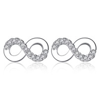 BELAWANG Authentic 925 Sterling Silver Infinity Stud Earring...