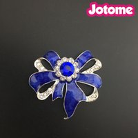 50mm Bow bow- knot Brooch Pin Silver Tone Clear Rhinestone Cr...
