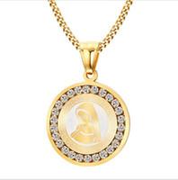 Vergoldete Jungfrau Mary Halskette Frauen Religiöse Gebet Halsketten Anhänger Schmuck mit CZ Stone PN-628
