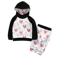 Spring Autumn Kids Toddler Baby Girl Boy Fox impressão Hoodies Camisola Calças 2pcs Outfits Set