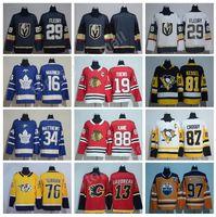 Nuevo 2018 Hockey sobre hielo Jersey 87 Sidney Crosby 88 Patrick Kane 16 Mitchell Marner 29 Marc-Andre Fleury 13 Johnny Gaudreau