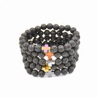 Nouveau Naturel Noir Pierre De Lave Perles Bracelet De Mode Hommes Hématite Perlé Croix Charme Bracelets Yoga Bijoux