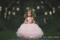 Kommunion Kleid Rose Gold Pailletten erröten Tüll Ballkleid Blume Mädchen Kleider 2017 Flügelärmeln Puffy kleine Mädchen formale Hochzeit Kleid