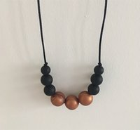Baby Momma Jewelry Gold Black Round Silicone Teething Neckla...