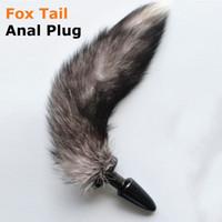 Fétiche Noir Silicone Animal Cat Fox queue avec Anal plug anal gode Sex toys pour femmes hommes gay masturbateur costume de jeu adulte 17308