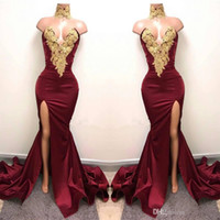 2017 Modest Burgundy Mermaid Split Sexy Evening Formal Dress...