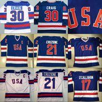 1980 Miracle on Ice Hockey Jersey # 17 Jack O'Callahan # 21 Mike Eruzione # 30 Jim Craig Men's 100% Team Stitched Squadra USA Maglie da hockey blu Bianco